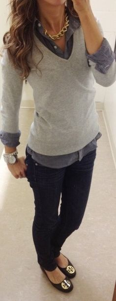 Winter fashion wear for women: Perfect Fall Work Outfit. Layered button up with a gray V-neck sweater, jeans, and chunky jewelry #casualfriday with <3 from JDzigner www.jdzigner.com
