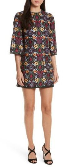 Women's Alice + Olivia Coley Embroidered Bell Sleeve Dress -A vibrant tapestry of floral embroidery adorns this effortlessly elegant shift dress. Free shipping #ad #women #dress #boho #myredshoestories