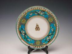 Antique English Minton China Christopher Dresser Cloisonne Porcelain Plate c1875