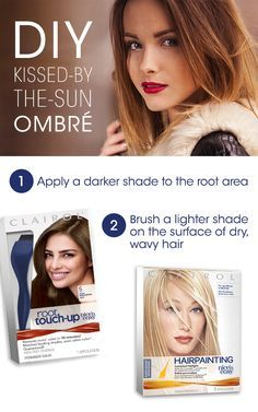 """You're two shades away from achieving that coveted """"kissed-by-the-sun"""" ombré look. First, apply a darker color to the root area like Root Touch-Up in Medium Brown 5. After the color has been processed, rinse and dry your hair. Then, use a hair color brush with sweeping motions to apply a lighter color to the surface of dry, wavy hair. Try the Nice'n Easy Hairpainting Kit for your lighter ombré pieces."""
