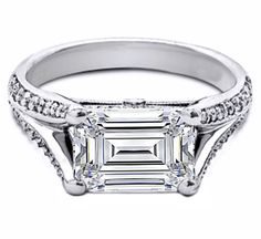 Want a unique Engagement ring?  Here at Premier Bride we love the Horizontal Split Bands!  Emerald Cut Horizontal Split Band Pave Engagement ring in 14K White Gold