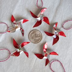 pinwheel ornaments made from a coke can.