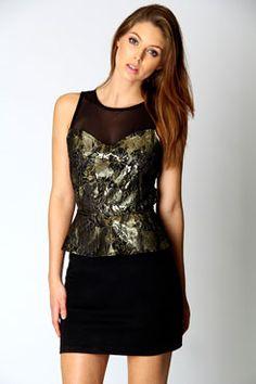Emma Baroque Print Mesh Peplum Dress