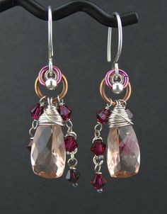 Wire Wrapped Maroon Peach Gemstone Wired by LoneRockJewelry