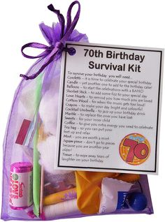 SMILE GIFTS UK 70th Birthday Survival Kit Gift: Amazon.co.uk: Office Products 70th Birthday Presents, Birthday Gag Gifts, Birthday Cards For Mum, Unique Birthday Gifts, Special Birthday, 60th Birthday, 70 Birthday Gift Ideas, Birthday Survival Kit, Survival Kit Gifts