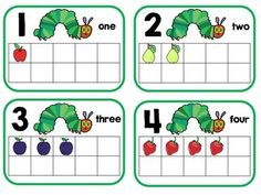 The Very Hungry Caterpillar Math and Literacy Center Bundle Hungry Caterpillar Classroom, Caterpillar Preschool, The Very Hungry Caterpillar Activities, Counting Caterpillar, Eric Carle, Preschool Books, Preschool Activities, Preschool Worksheets, Spring Activities