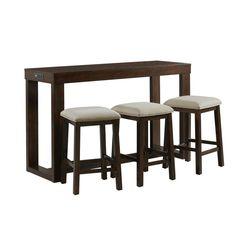 Picket House Furnishings Drew Dark Walnut Bar Table Set - The Home Depot