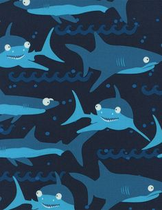 Timeless Treasures Fun Sharks Haie Patchworkstoffe Patchwork Stoffe Tiermotive