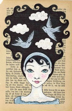 art journal, vintage book, illustration