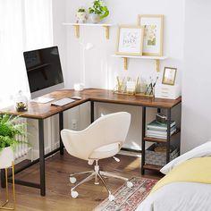 Computer Desk With Shelves, Desk Shelves, Rustic Computer Desk, Desk Storage, Desk Nook, Desk Space, Shelf, Desk Setup, Home Office Setup