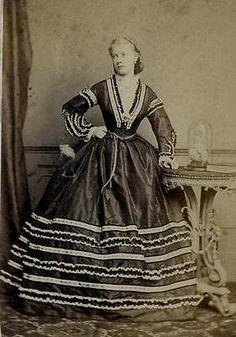 CDV: A woman wearing a striped hooped dress by Davis of London c.1860