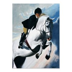 Hunter Jumper Acrylic Painting  An Original Painting by Jessica Drake of a Gray Hunter Horse Jumping