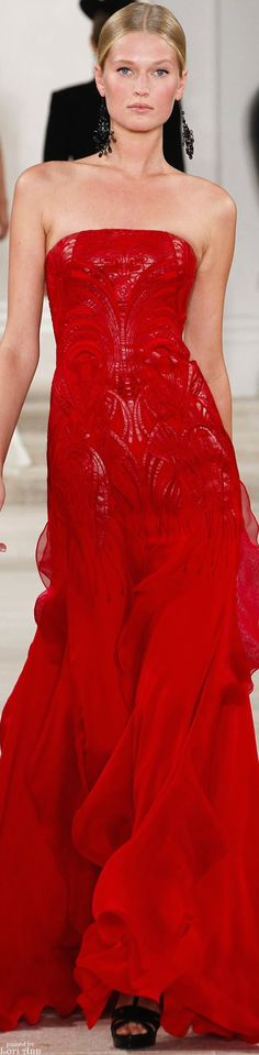 Ralph Lauren ~ Spring Red Strapless Gown w Flared Flowing Skirt + Embroidery Details 2013