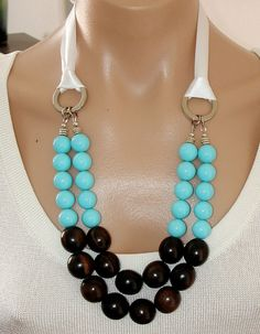 ASHIRA Statement Necklace Tiger Ebony, Turquoise Blue Mother of Pearl, Ribbon - WOW