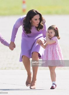 Princess Charlotte of Cambridge and Catherine, Duchess of Cambridge depart from Hamburg airport on the last day of their official visit to Poland and Germany on July 21, 2017 in Hamburg, Germany.