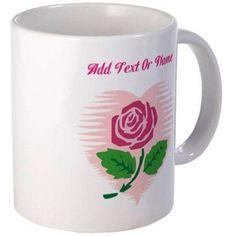Cafepress Personalized Custom Name Love Rose Mug, Multicolor