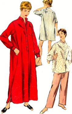 1950s Pajamas Pattern Night Shirt Simplicity Misses by SelmaLee, $8.00