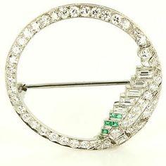 Antique Art Deco Platinum Diamond Emerald Circle Cocktail Brooch Pin Vintage $2495