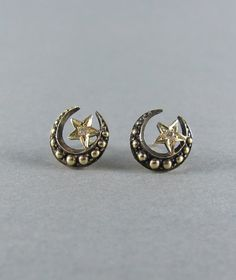 Crescent moon and diamond star handmade stud earrings from Leola Revives