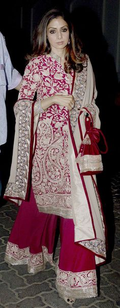 Sridevi : Photos: Karwa Chauth celebrations at Anil Kapoor's residence Indian Attire, Indian Wear, Pakistani Outfits, Indian Outfits, Sharara Designs, Look Short, Desi Clothes, Indian Couture, Indian Celebrities
