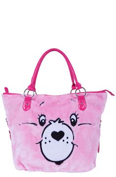 Iron Fist Ladies ♥ Care Bears Stare Tote ♥ A plush feel will leave you more than wanting to gaze at the Care Bears Stare Tote. Pink synthetic fur and cute as h