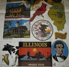 Illinois Linen Kitchen Hand Tea Towel Wall Hanging State Icons Souvenir NWOT
