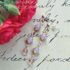 Vaaleanpunaiset vintage kristalli korvikset
