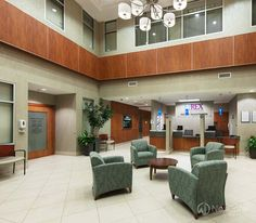 The two-story atrium lobby in the Knightdale MOB has centralized check-in for all Rex Healthcare departments. Wellness Center, Health Care, Two By Two, House Design, Atrium, Medical, Check, Home Decor, Decoration Home