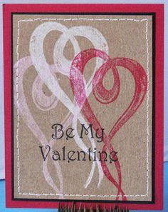Brushed Heart Valentine on Kraft cardstock - IMAGINE Crafts featuring Tsukineko - Memento Luxe Inks