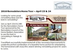 http://www.trendmarkinc.com/2016-remodelers-home-tour-april-23-24 - Join us April 23rd & 24th for the Remodelers Home Tour sponsored by the Remodelers Council of the Home Builders Association to see the best in remodeling in Raleigh & Cary!