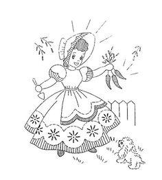 Sunbonnet Girls in the Garden embroidery transfer
