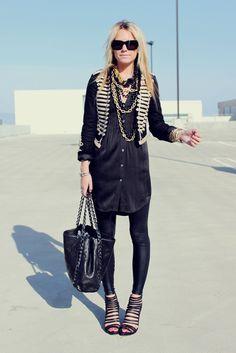 Dress: Theory. Jacket: Stella McCartney for GapKids. Leggings: AA. Shoes: Loeffler Randall. Sunglasses: Chloe. Bag: Chanel. Jewelry: Lauren Elan c/o, David Yurman, Max&Chloe, Pomellato, Saks 5th, Gap, BR. Lips: YSL.