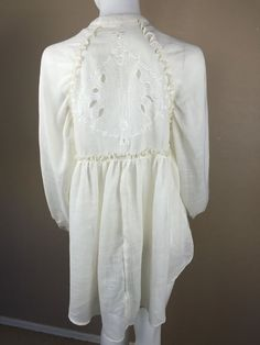 FREE PEOPLE Ivory Peasant Blouse Hi Low Button Up Long sleeve Sheer Petite Small #FreePeople #Peasant