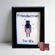 Enderman Embroidery - Minecraft Cross Stitch - Enderman stitch design