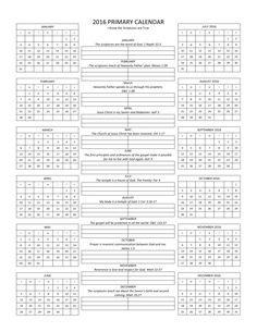 Easy one page planning calendar, including 2016 Primary scriptures and themes. I Know the Scriptures are True. Primary LDS.