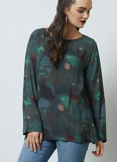 SIREN - REVERSE DART TOP - MOSS PRINT Cool Silhouettes, Classic Chic, Soft Fabrics, Long Sleeve Tops, Pullover, Blouse, Sleeves, Sweaters, Women