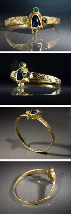Gold & Sapphire & Emerald Ring, ca 14th century A.D.