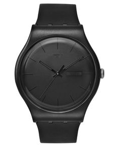 Swatch Watch, Unisex Swiss Black Rebel Black Silicone Strap 41mm SUOB702 - Women's Watches - Jewelry & Watches - Macy's