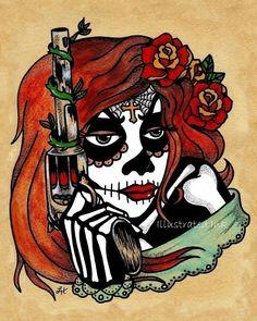 Day of the Dead Art Tattoo Print LA ADELITA & Pistol