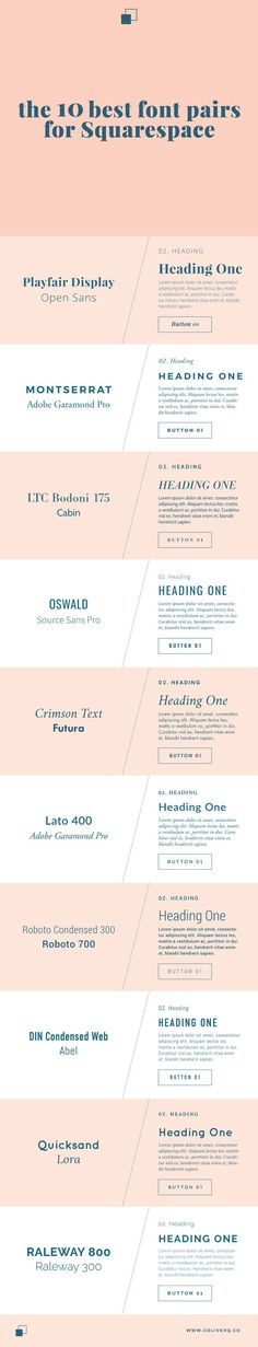 the 10 best font pairs for squarespace  |   http://Promisetangeman.com