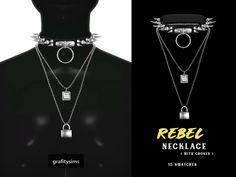 { grafity } — Rebel Necklace ( with choker ) 15 swatches ; The Sims 4 Pc, Sims Four, My Sims, Sims Cc, Sims 4 Mods Clothes, Sims 4 Clothing, Sims 4 Cas Mods, Sims 4 Collections, Sims 4 Piercings