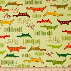 Jungle Creatures Alligators Bermuda from @fabricdotcom  Designed by Amy Schimler for Robert Kaufman, this cotton print is perfect for quilting, apparel and home decor accents.  Colors include yellow, brown, red, brick and shades of green.