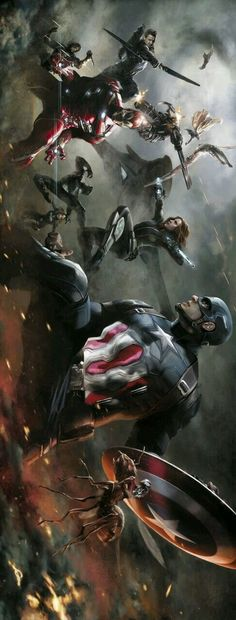 Captain America: Civil War by Alexander Lozano * - Visit to grab an amazing super hero shirt now on sale! Marvel Comics, Heros Comics, Marvel Heroes, Marvel Avengers, Marvel Fight, Avengers Games, Avengers Movies, Comic Movies, Comic Book Characters