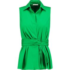 Oscar de la Renta Gathered cotton-blend top (37.990 RUB) ❤ liked on Polyvore featuring tops, bright green, oscar de la renta, ruched top, fitted tops, loose fitted tops and rouched top