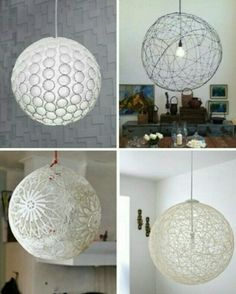 Diy Pendant Light Tutorial For DIY Light Tutorials: ; Paper Cup Light /Wire  Orb /Lace Lamp /Yarn Pendant Lights Plus Many More : Links From This Website