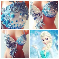 Frozen Elsa Rave Bra by TheLoveShackk on Etsy, $120.00