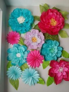 to paper flowers and to 10 pinwheels Papel Tissue, Tissue Pom Poms, Tissue Paper Flowers, Paper Flower Backdrop, Paper Roses, Giant Flowers, Diy Flowers, Flower Decorations, Fabric Flowers