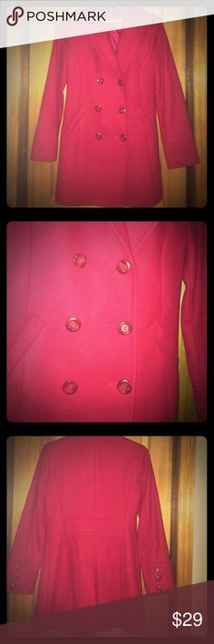 Red wool pea coat Red wool blend pea coat. So stylish and chic! This coat really has style and flare! It is such a pretty hue of red. The front is double breasted, 3 buttons on each sleeve and an open pleat in the back! It's a size 4 but I think it runs somewhat big more like a 6. Pair this with a fancy scarf and a cute hat and your all set to paint the town red! Express Jackets & Coats Pea Coats