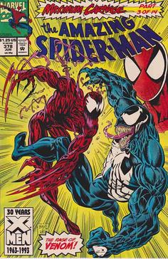 AMAZING SPIDER-MAN #378. Maximum Carnage, pt. 3 Demons on Broadway. You -- Carnage! We thought we were done with you! But we've come back to make sure that this time... YOU DIIIEEE! -- Venom (Eddie Brock). Carnage versus Venom! Mark Bagley Pencils - Cover Art.