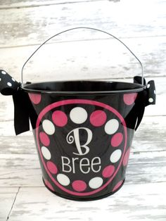 personalized PINK and BLACK five quart bucket by monkeyseeboutique, $22.00